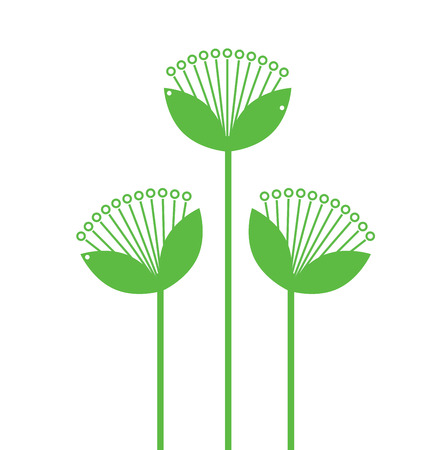 Beautiful simple Flowers line art isolated on white. Vector Illustration Illustration