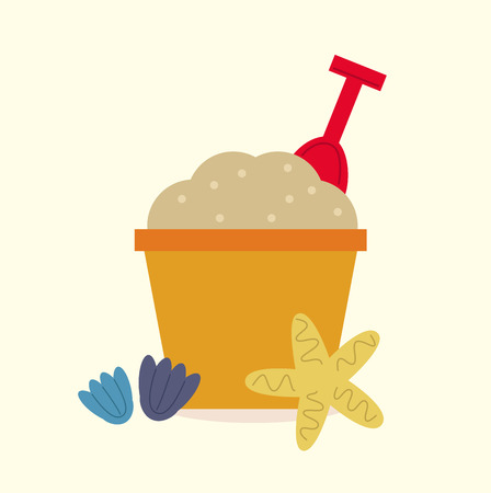 sand background: Colorful Sand pail isolated on beach background. Vector cartoon Illustration