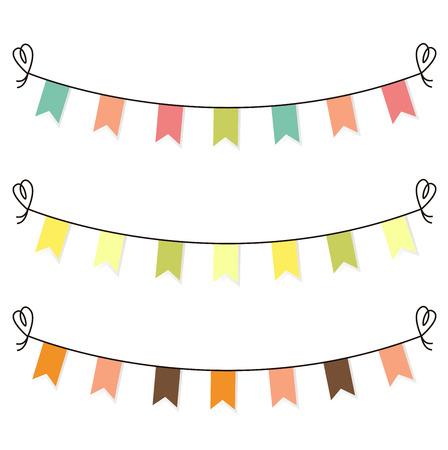 Cute birthday or baby shower flags, bunting. Vector cartoon Illustration