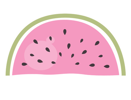 exotic fruit: Pink watermelon isolated on white. Vector cartoon Illustration