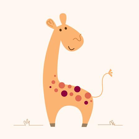Cute colorful Giraffe - vector cartoon Illustration