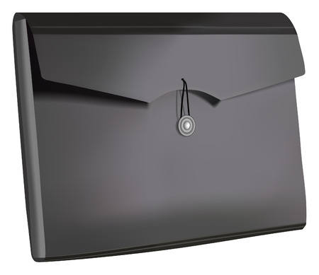 image of black plastic document folder Vector