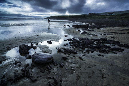 storm tide: Atmospheric scene of a man and dog on a beach in Ireland in front of Skelly Island with an approaching storm with dramatic dark threatening clouds reflected in the wet sand below