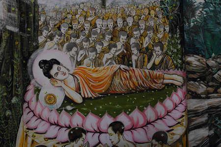 Buddhist biography painting on the wall of Wat Kumpapradits, Maerim, Chiang Mai, Thailand.