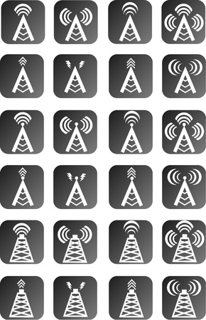 wireless tower: Radio tower or wireless tower icon