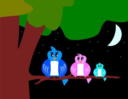 bird family with tree and moon