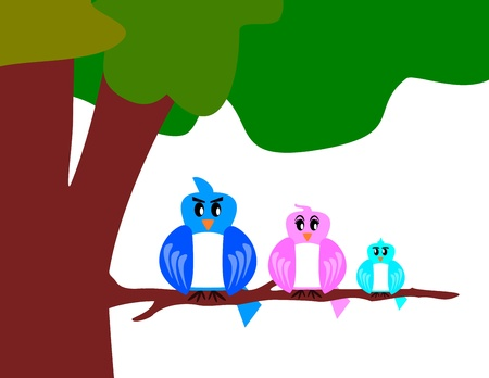 bird family with tree Illustration