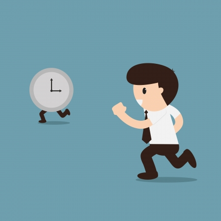Businessman running with time