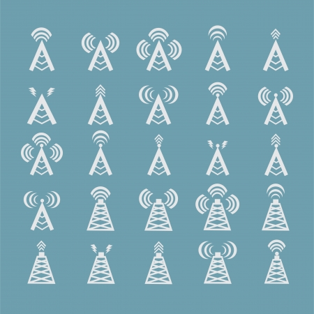 Radio tower or wireless tower symbols vector Illustration