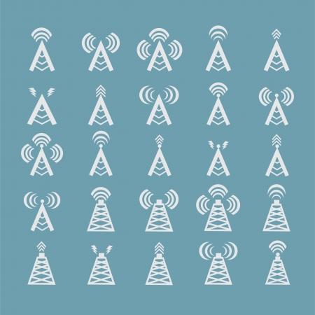 Radio tower or wireless tower symbols vector Illustration