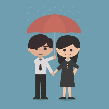 man and woman under a red umbrella Illustration