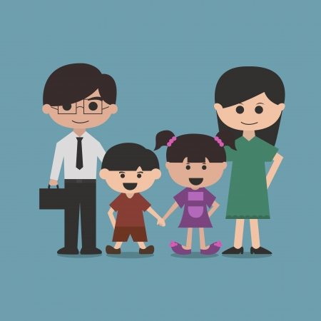 happy family cartoon character vector Vector