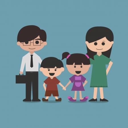 happy family cartoon character vector