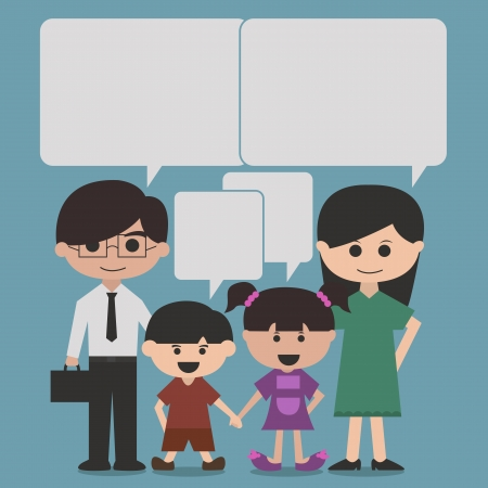 family discussion: happy family cartoon character with speak bubbles or speech bubbles