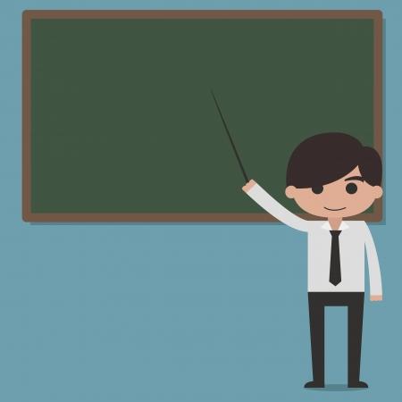 Professor presentation on blackboard vector Illustration