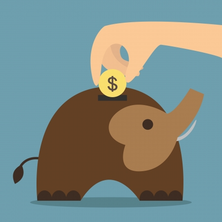 Elephant bank saving money vector