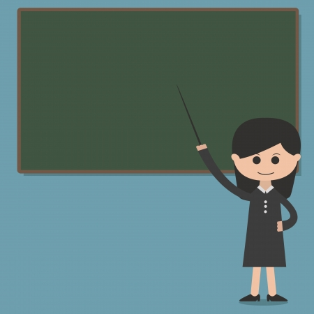 Girl professor presentation on blackboard vector