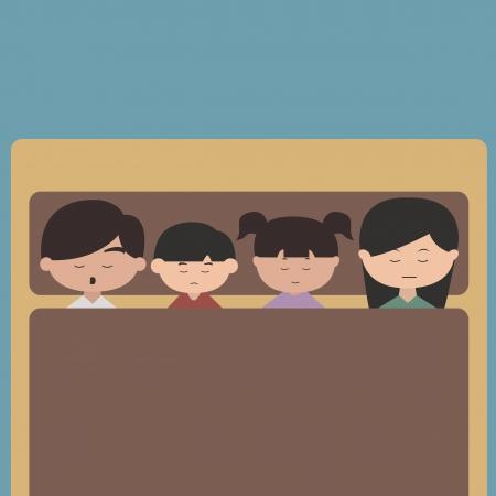 Happy family cartoon character sleeping vector Illustration