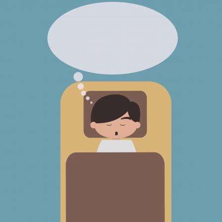 Sleeping man with speech bubble