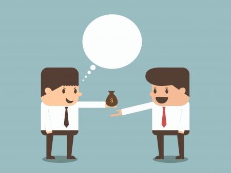 businessman giving money to other businessman  Illustration