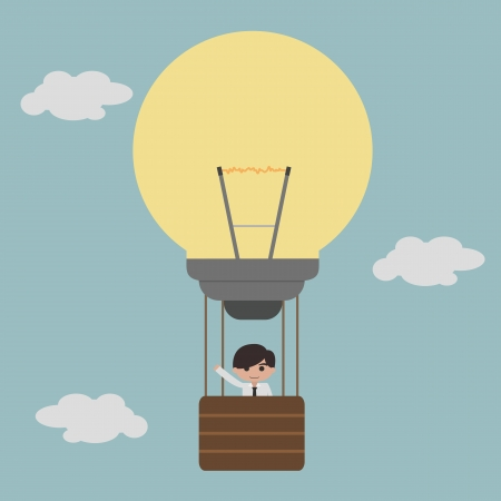 businessman on lightbulb balloon idea  Vector