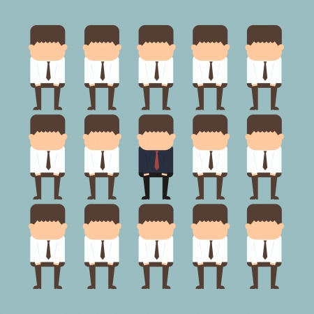 individualit�: concetto di individualit� di un uomo d'affari in piedi fuori dalla folla Vettoriali