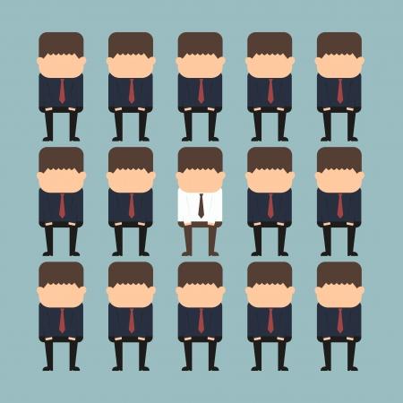 individualit�: concetto di individualit� di una persona in piedi fuori dalla folla Vettoriali