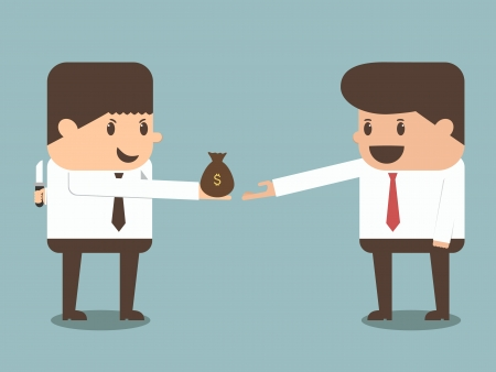 giving money: tricky businessman giving money to other businessman vector Illustration