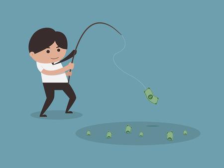 Businessman Fishing Money Concept