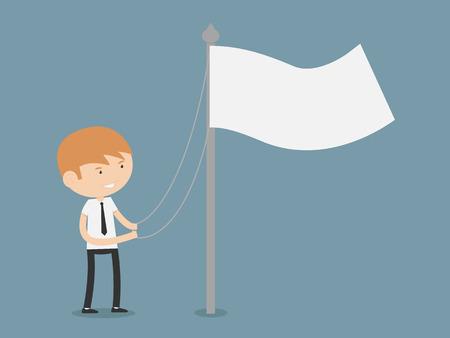Businessman raising a flag