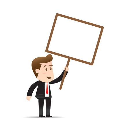 businessman holding blank sign Illustration