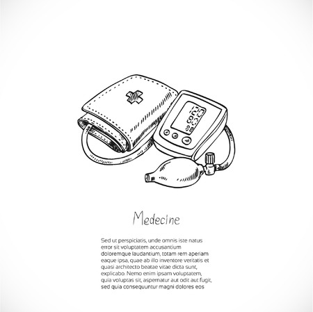 blood pressure monitor: Digital Blood Pressure Monitor, drawing doodle vector-Medical banner for your text