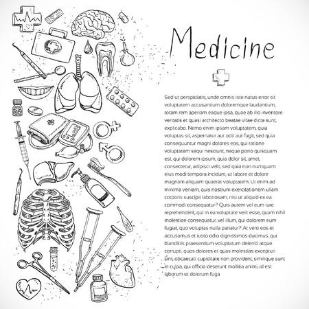 medical preparation: Medical doodle background design layout for poster flyer cover brochure