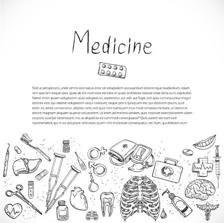 pulsating: Medical doodle background for poster flyer cover banner brochure