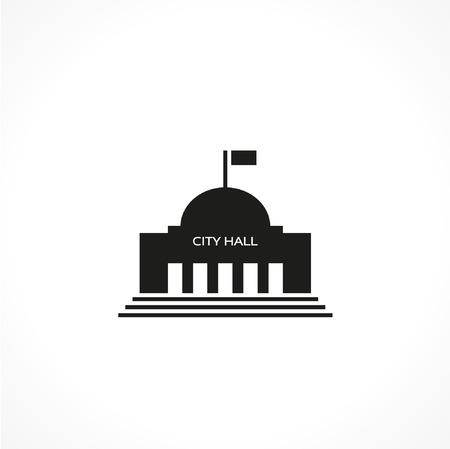 hall: city hall-vector icon Illustration