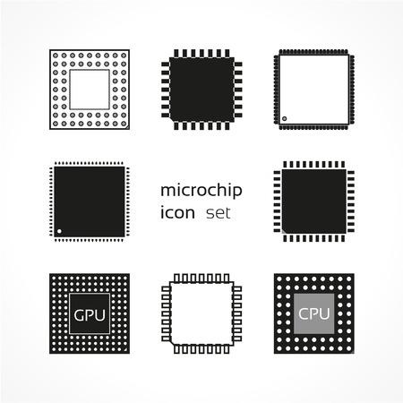 gpu: Computer microchip, vector icon set