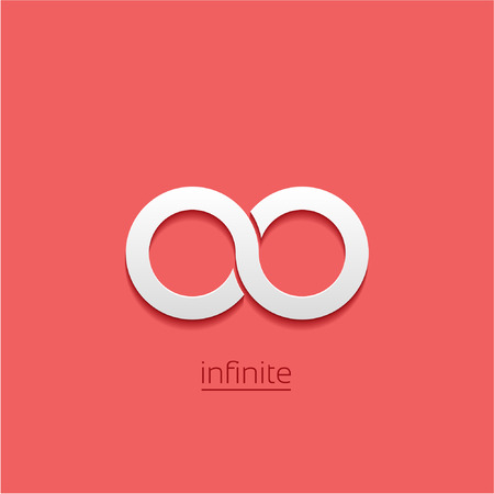 eternally: Limitless sign icon. Infinity symbol Isolated on red background