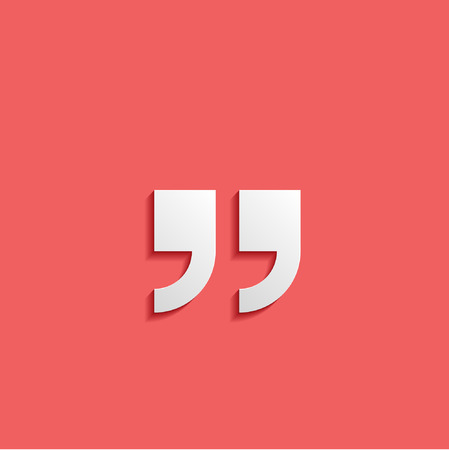 Quotation mark symbol. Double quotes at the end of words Quote sign Icon Isolated on Red Background Vector