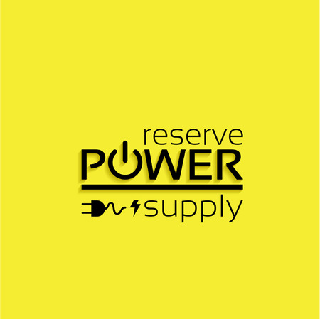 reserve: reserve power supply, text block on a yellow background, sticker vector