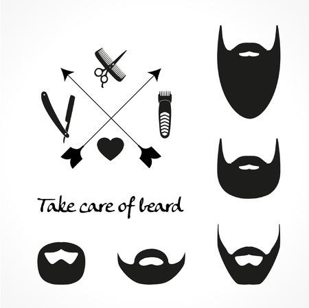 Set of beard silhouettes Ilustração