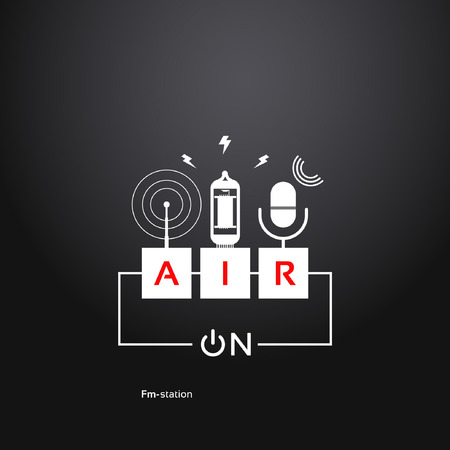 radio station: on air, abstract background power button, microphone, vacuum tube and a radio antenna. Radio theme