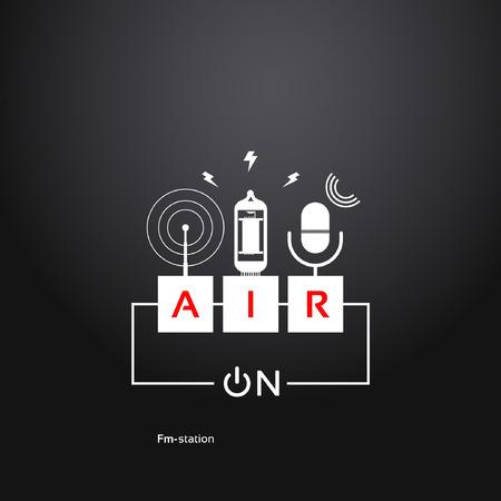 sur l'air, abstraite bouton d'alimentation de fond, d'un microphone, d'un tube de vide et d'une antenne radio. thème de la Radio