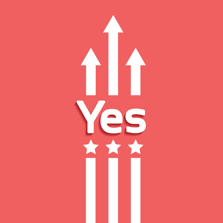 assent: Yes-vector red background Illustration