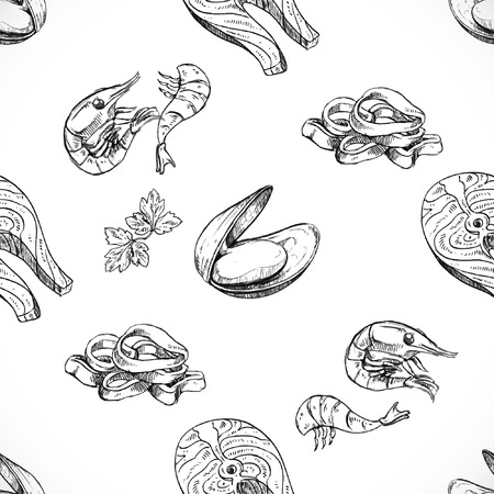 seafood seamless background doodle vector  イラスト・ベクター素材