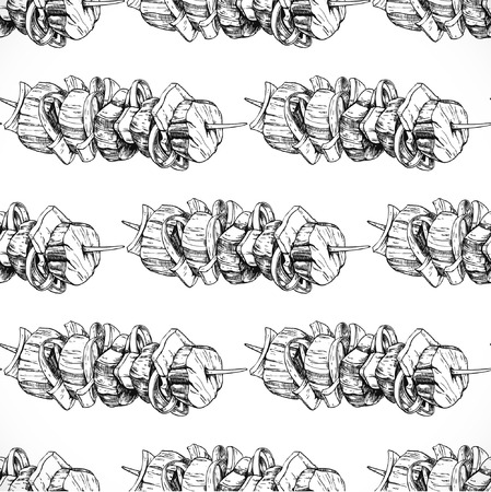 shashlik, food seamless background doodle vector
