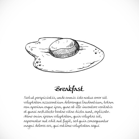 quick drawing: Background for your text with doodles on a teme breakfast - fried eggs