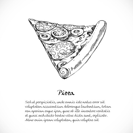 italian food: Background for your text with doodles on a teme Italian food - pizza with sausage Illustration