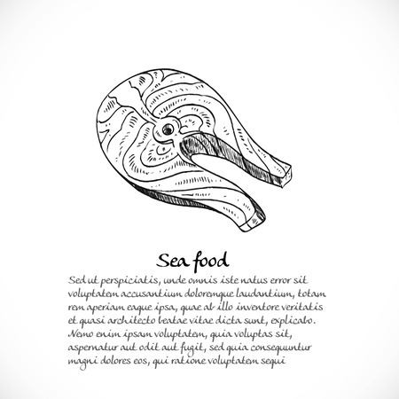 fish steak: Background for your text with doodles on a teme Seafood - fish steak Illustration