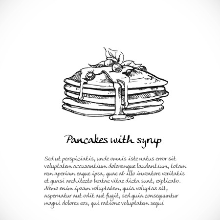 Background for your text with doodles on a theme of sweets - pancakes with syrup and berries