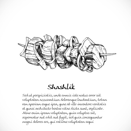 Background for your text with doodles on Caucasian cuisine - skewers Ilustrace